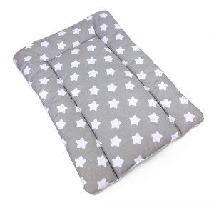 changing mat big white stars on grey