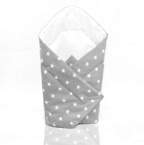 Swaddle wrap small white stars on grey